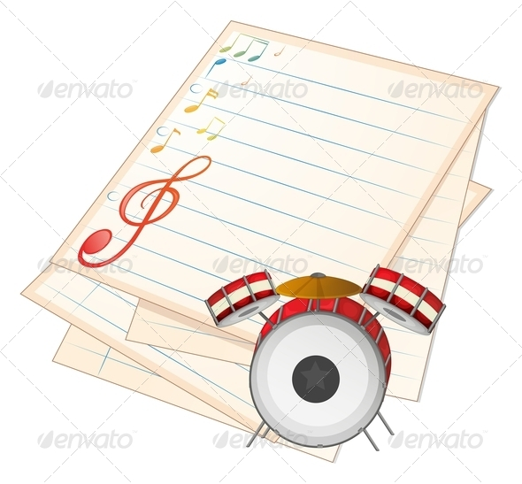 GraphicRiver An Empty Music Paper with a Drum 7934938