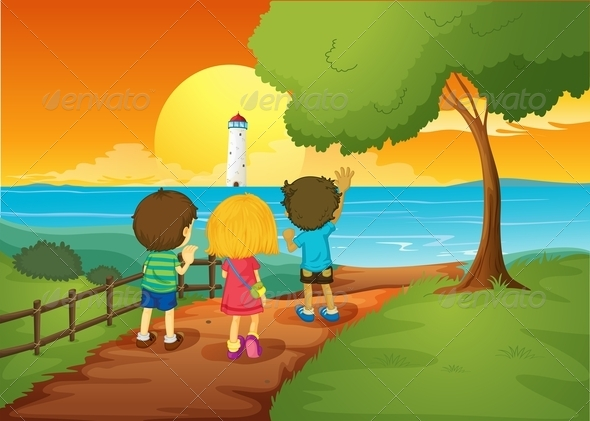 GraphicRiver Three Kids Watching the Lighthouse 7934976