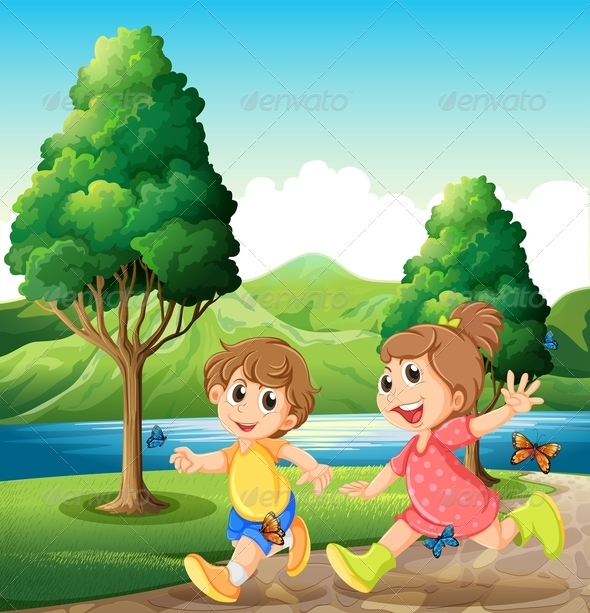 GraphicRiver Happy and Energetic Kids Playing Near the River 7935088