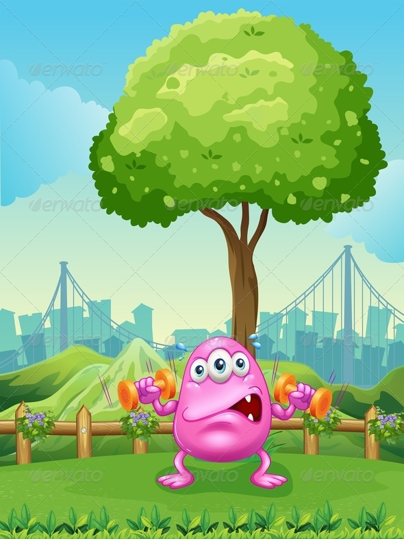 GraphicRiver A Tired Monster Exercising Under the Tree 7935219
