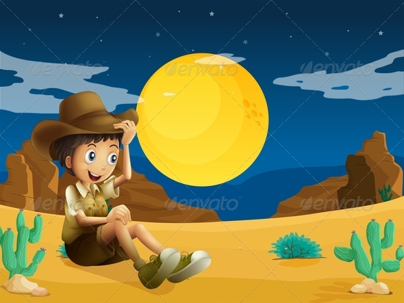 GraphicRiver Young Explorer at the Dessert 7936447