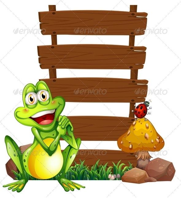 GraphicRiver Smiling Frog with Empty Signboards 7936846