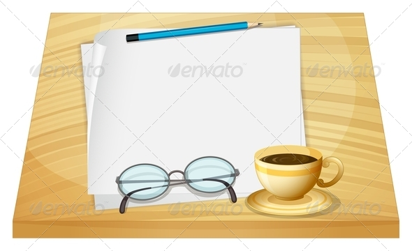 GraphicRiver Table with Blank Pieces of Papers 7936910