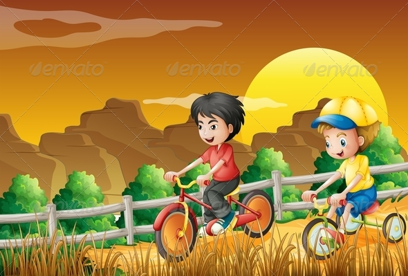 GraphicRiver Kids Biking in the Field 7937036