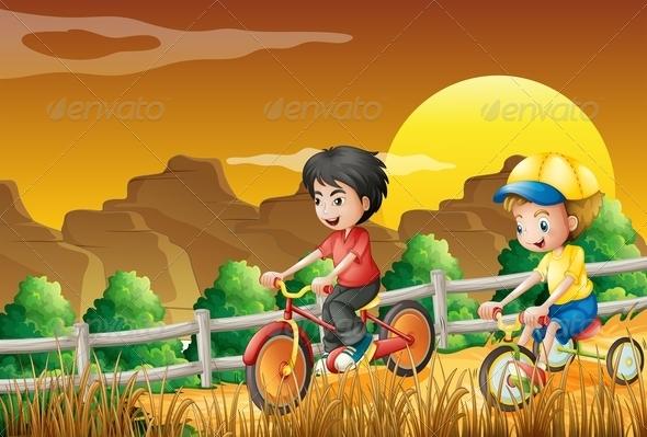GraphicRiver Kids Biking in the Field 7937036