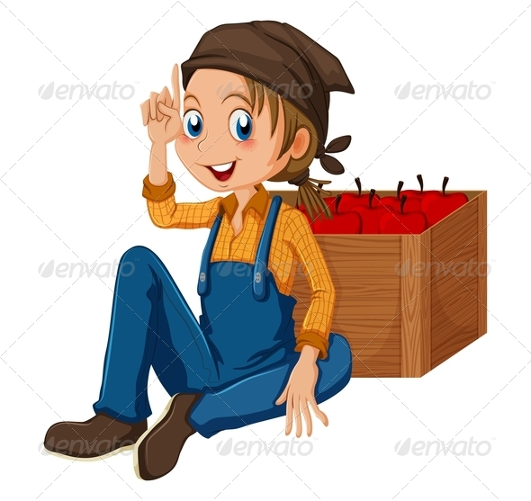 GraphicRiver Young Gardener Sitting Beside a Box 7937429