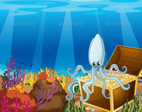 GraphicRiver Treasure Chest Under the Sea with an Octopus 7937467