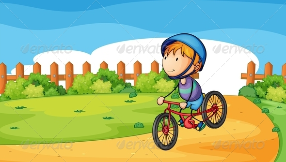 GraphicRiver Young Boy Biking Outdoor 7937473
