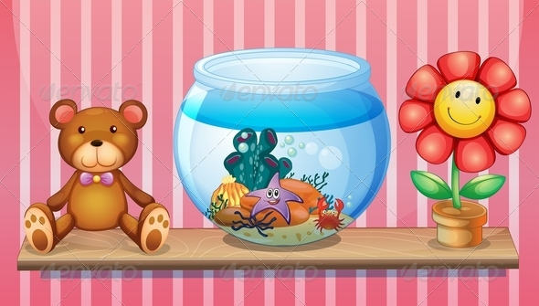 GraphicRiver Shelf with Bear Fish Bowl and Toy Flower 7937564