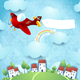 Fantasy Landscape with Airplane and Banner - GraphicRiver Item for Sale