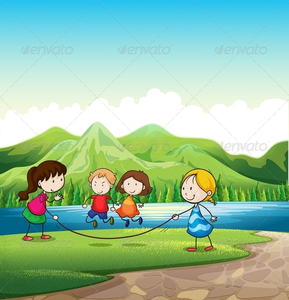 GraphicRiver Four Kids Skipping Rope 7937660