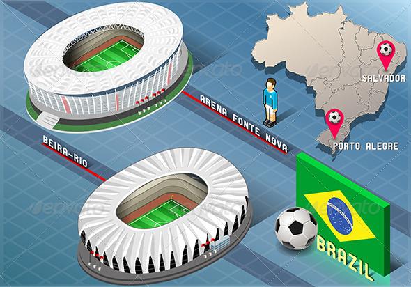 GraphicRiver Isometric Stadium of Salvador and Porto Alegre 7937681