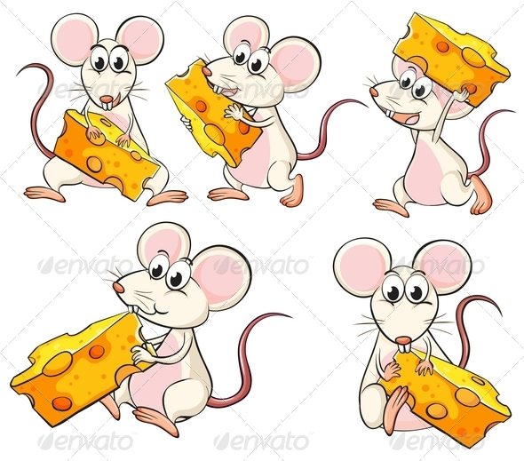 GraphicRiver Group of Mice Carrying Slices of Cheese 7937757