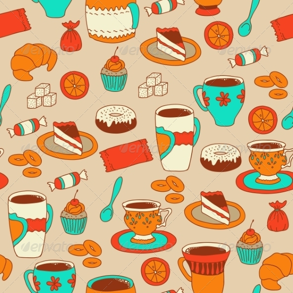 GraphicRiver Seamless Coffee and Tea Pattern with Sweets 7939802