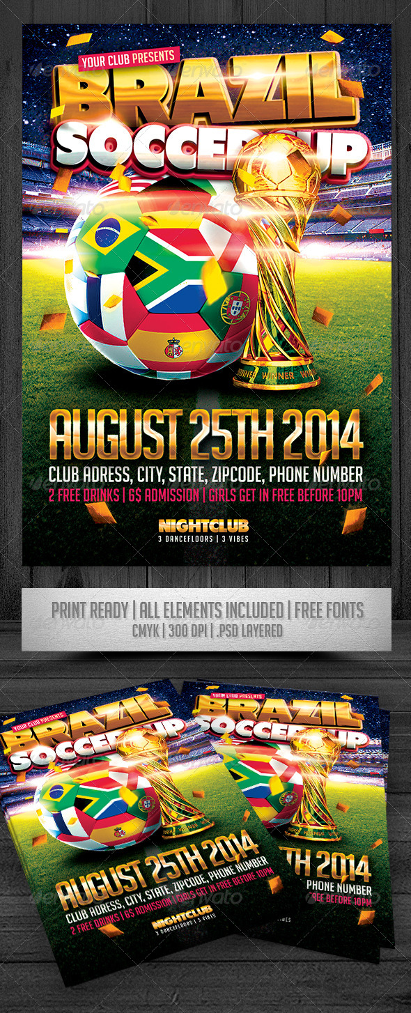GraphicRiver Brazil Soccer Cup Flyer 7928997
