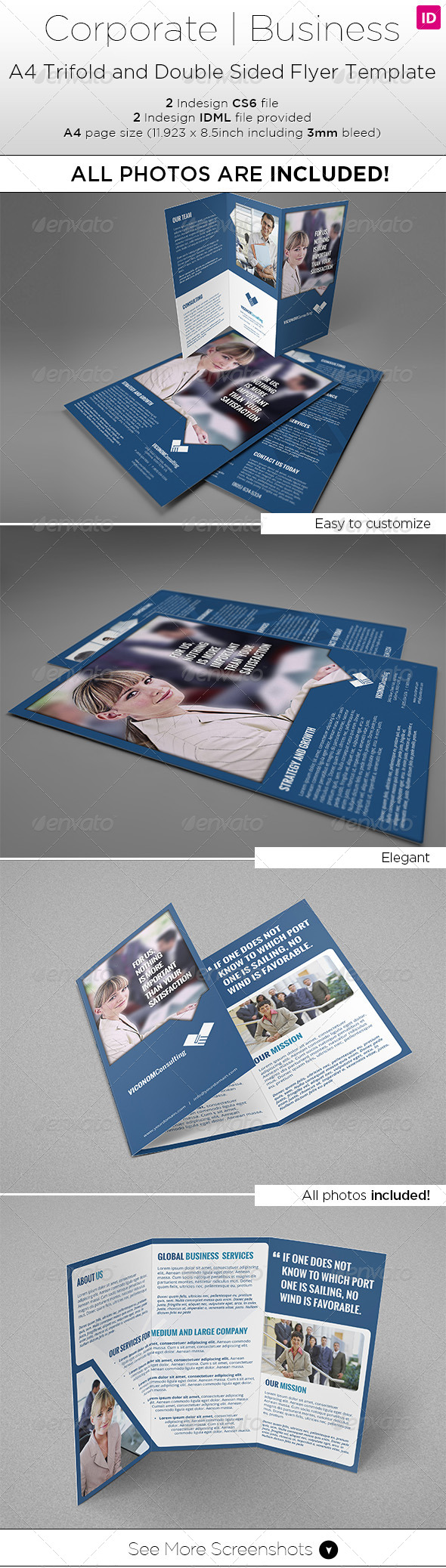 GraphicRiver A4 Trifold & Double Side Flyer Template 7940256