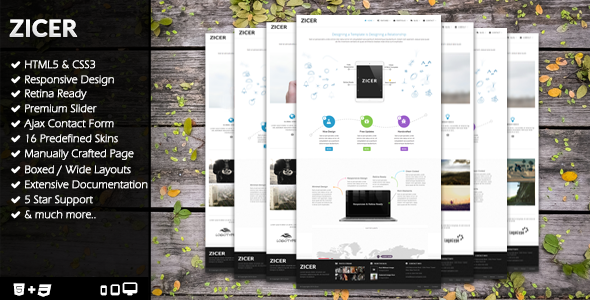 ThemeForest Zicer Responsive Retina HTML5 CSS3 Template 7821668