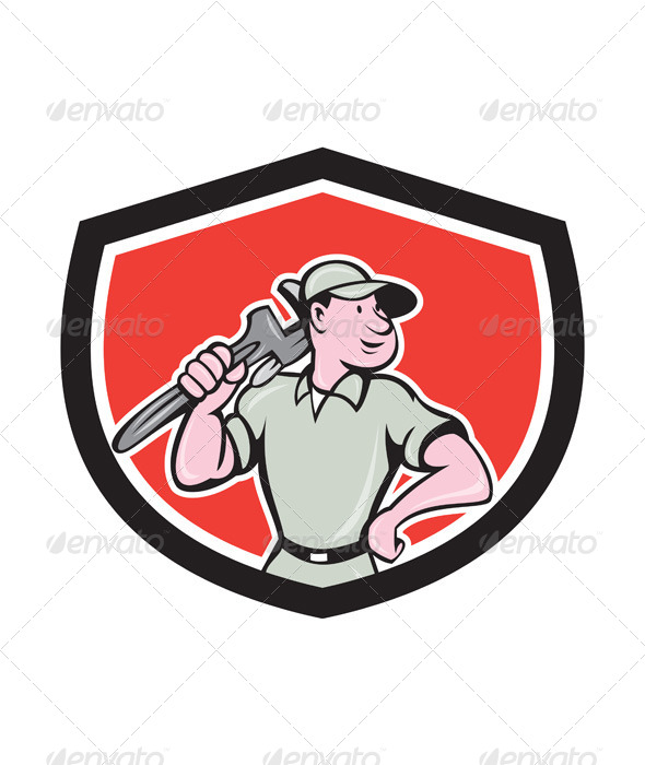 GraphicRiver Plumber Holding Wrench Shield 7941714