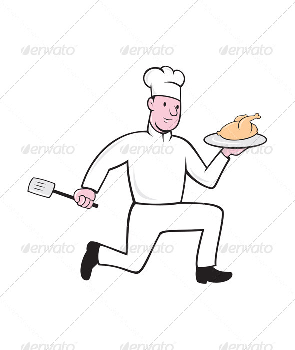 GraphicRiver Chef With Chicken Spatula Running Cartoon 7941718