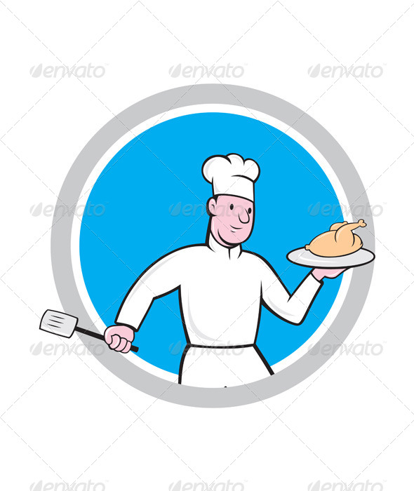 GraphicRiver Chef With Chicken Spatula Circle Cartoon 7941719