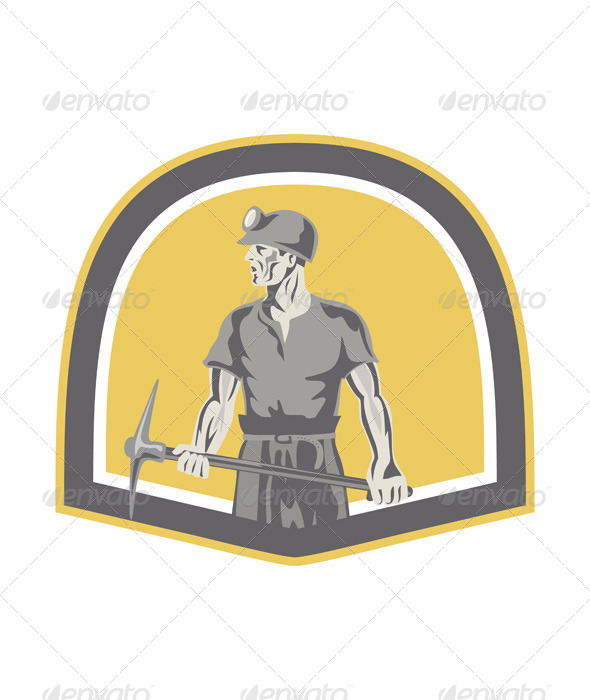 GraphicRiver Coal Miner Standing Holding Pick Axe Shield Retro 7941724