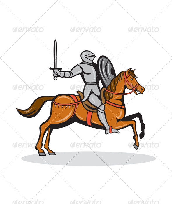 GraphicRiver Knight Riding Horse Cartoon 7941748