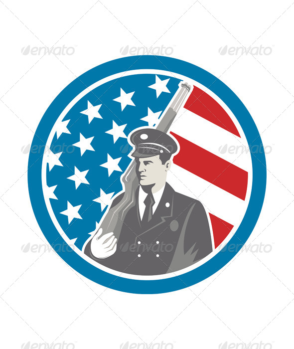 GraphicRiver Soldier Military Serviceman Holding Rifle Circle 7941769