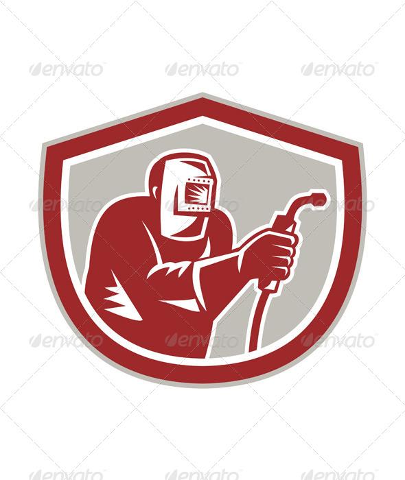 GraphicRiver Welder Worker Holding Welding Torch Shield Retro 7941778