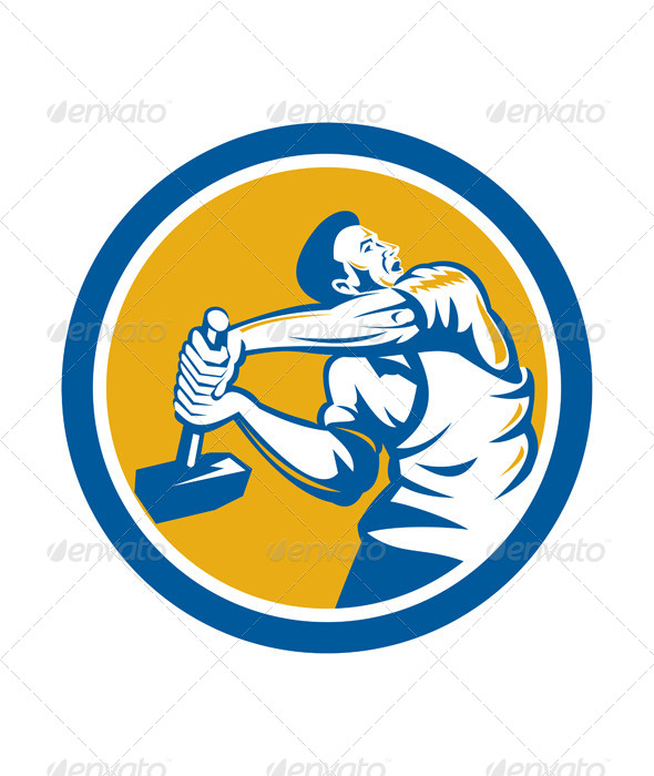 GraphicRiver Union Worker Strike With Sledgehammer Retro 7941779