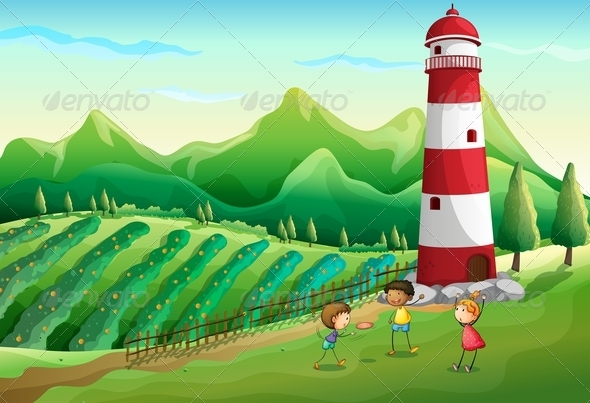 GraphicRiver Three Cute Kids at the Farm Playing near the Tower 7944763
