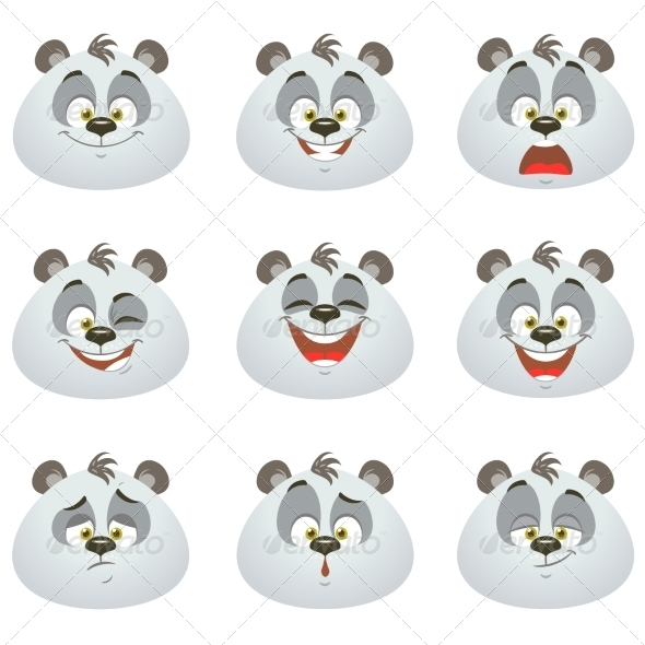 GraphicRiver Emotions Panda Set 7947060
