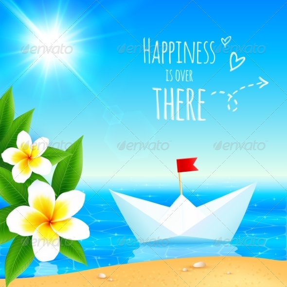 GraphicRiver White Paper Boat NearTropical Island 7947156