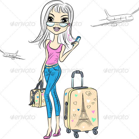 GraphicRiver Vector Beautiful Fashion Girl Travels the World 7949228