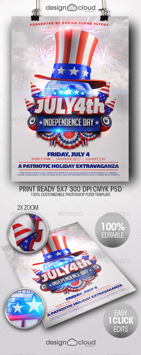 GraphicRiver July 4th Independence Day Flyer Template 7950869