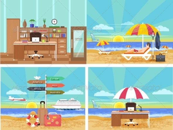GraphicRiver Traveling and Planning Summer Vacation Set 7951515