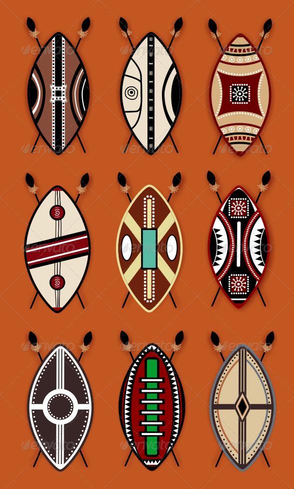 GraphicRiver Masai Shield Vector Designs 7956010