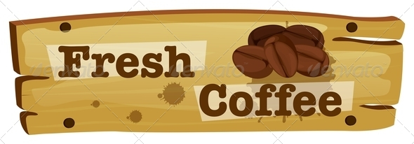GraphicRiver Wooden Board with a Fresh Coffee Label 7956896