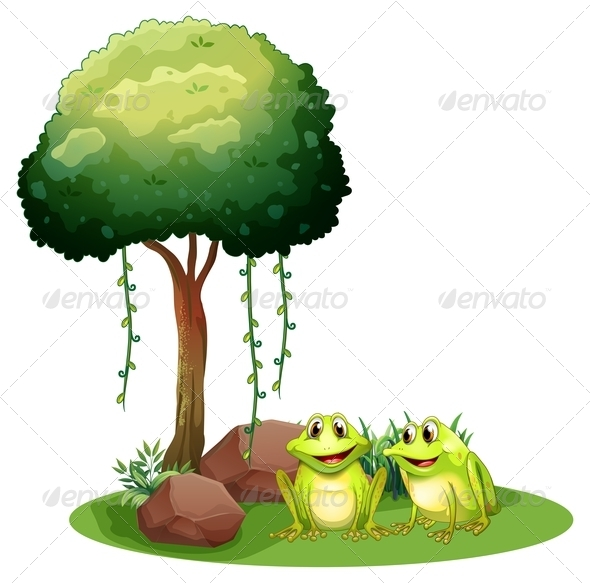 GraphicRiver Two Smiling Frogs Beside a Tree 7957022