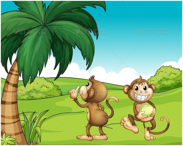 GraphicRiver Two Monkeys Near a Coconut Tree 7957036