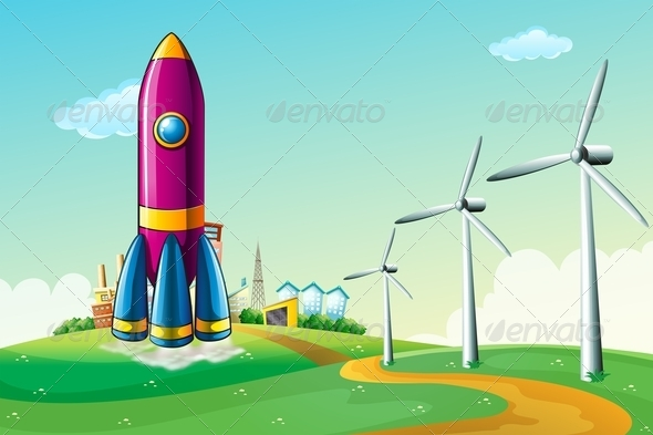 GraphicRiver Hilltop with a Rocket Near Windmills 7957046
