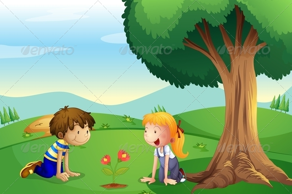 GraphicRiver Girl and a Boy Watching a Plant Grow 7957047