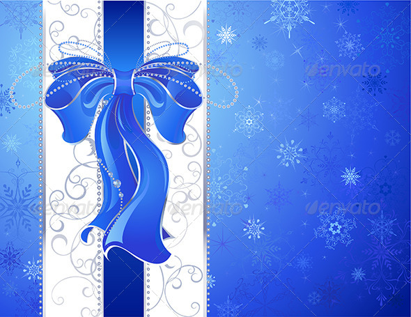 GraphicRiver Blue Bow on a Blue Background 7957051