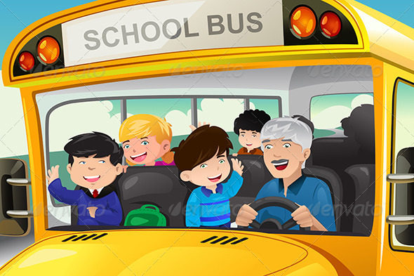 GraphicRiver Kids in a School Bus 7957093