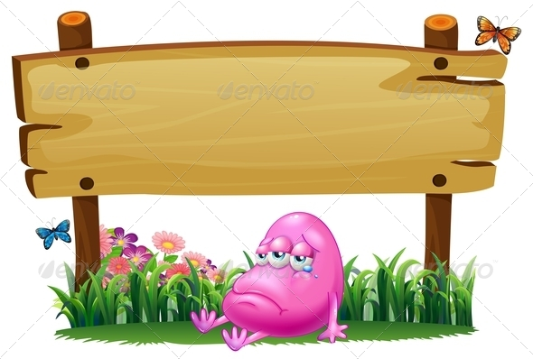 GraphicRiver Pink Beanie Monster Under an Empty Signboard 7957140