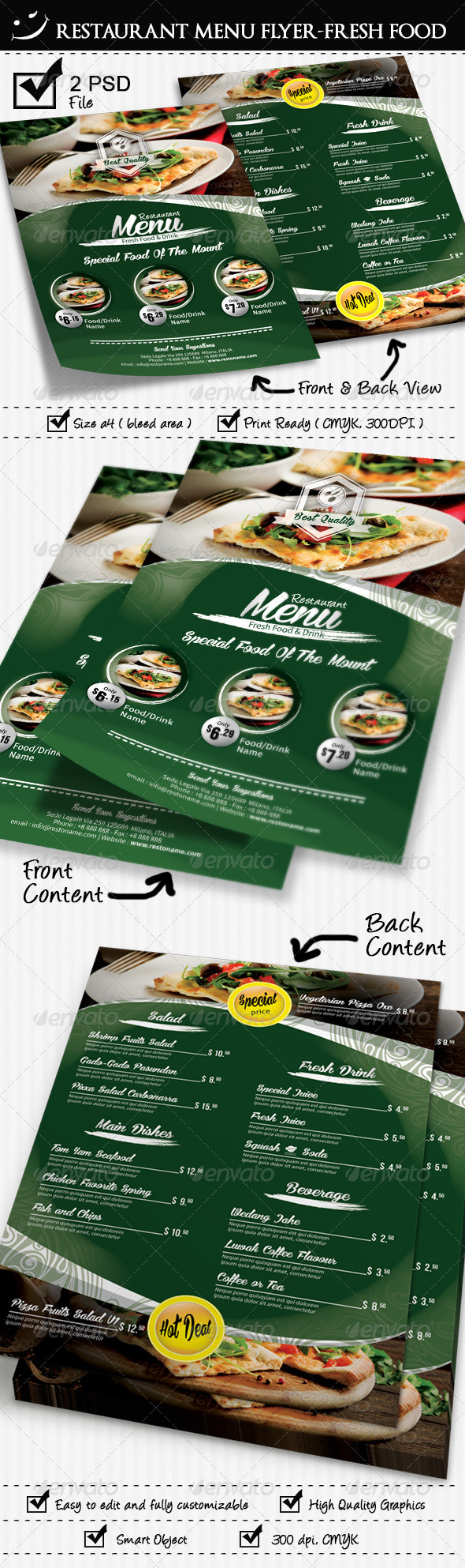 GraphicRiver Restaurant Fresh Food Menu Flyer 7957371