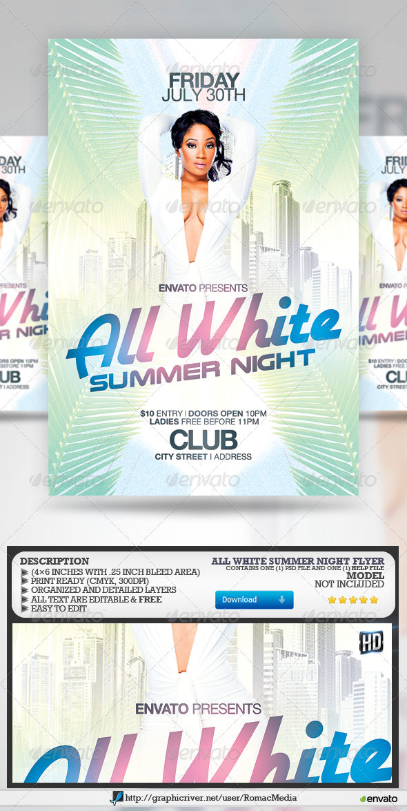 GraphicRiver All White Summer Night Party Flyer 7957457