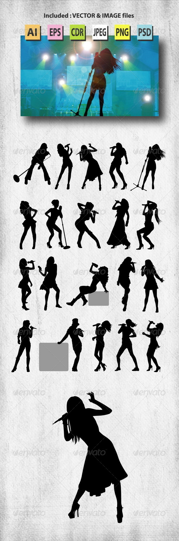 GraphicRiver Female Singer Silhouettes 7959526