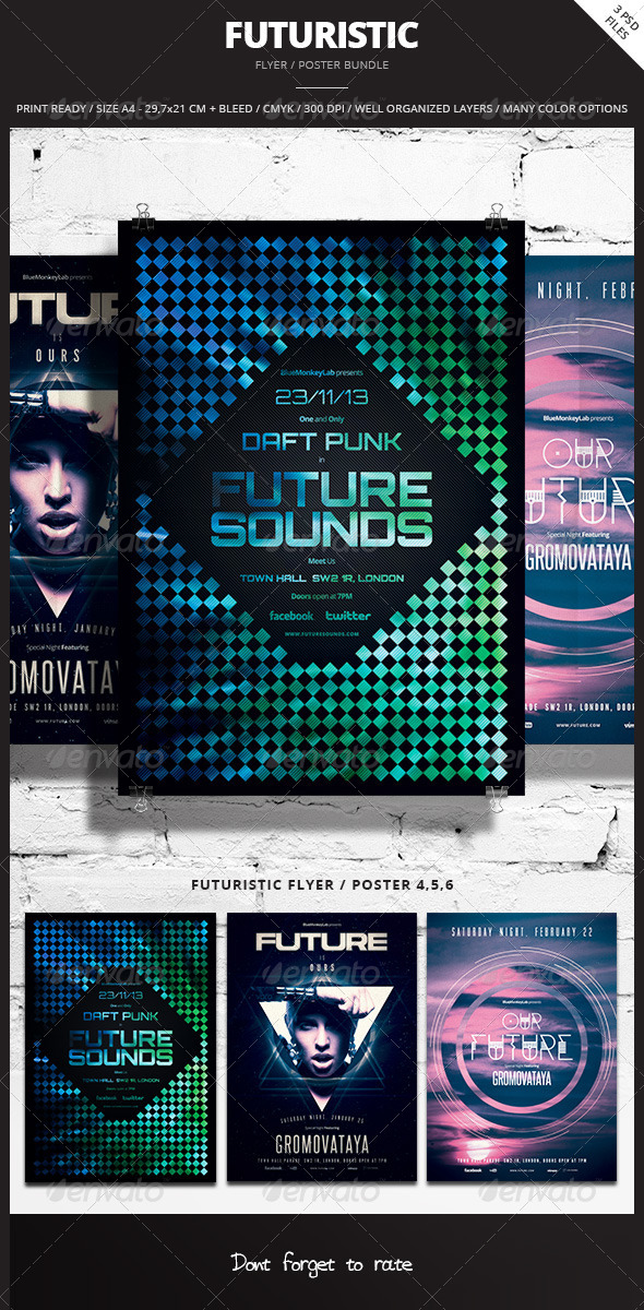 GraphicRiver Futuristic Flyer Poster Bundle 2 7959711