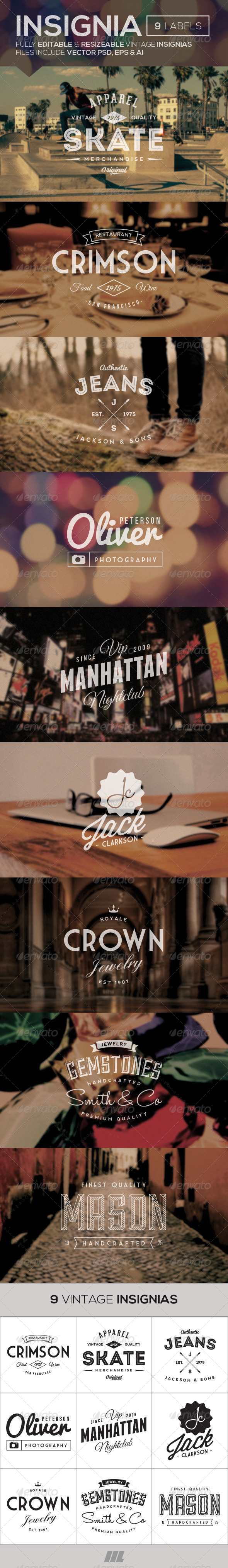 GraphicRiver Vintage Insignias Vol 1 7960367