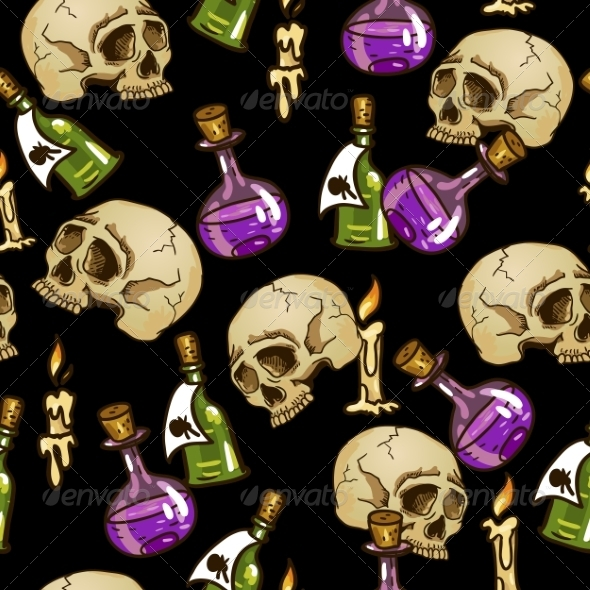 GraphicRiver Doodle Seamless Pattern with Flasks and Skulls 7960554